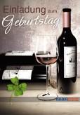 """Geburtstags-Einladungskarten """"Weinglas & Weinflasche"""""""