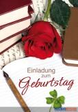 """Geburtstags-Einladungskarten """"Einladung-Rose/Bücher"""""""