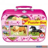 "4er Set Puzzle-Box ""Pferde""  im Koffer"