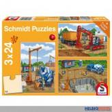 """Kinder-Puzzle 3er-Set """"Auf der Baustelle"""" - 3 x 24 Teile"""