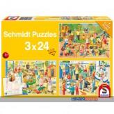 """Kinder-Puzzle 3er-Set """"Tag im Kindergarten"""" - 3x 48 Teile"""