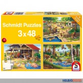 "Puzzle 3er Set ""Alle meine Lieblingstiere"" - 3 x 48 Teile"
