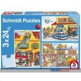 """Kinder-Puzzle 3er-Set """"Feuerwehr & Polizei"""" - 3x 24 Teile"""
