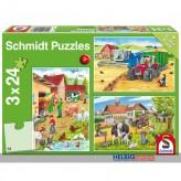"""Kinder-Puzzle 3er-Set """"Auf dem Bauernhof"""" - 3x 24 Teile"""