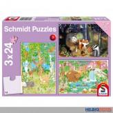 "Kinder-Puzzle 3er-Set ""Waldtiere"" - 3 x 24 Teile"