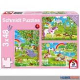 """Puzzle 3er Set """"Prinzessin im Schlossgarten"""" - 3 x 48 Teile"""