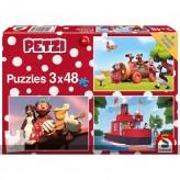 """Kinder-Puzzle 3er-Set """"Petzi - Abenteuer"""" - 3 x 48 Teile"""