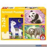 """Kinder-Puzzle 3er-Set """"Lama, Faultier & Panda"""" 3 x 24 Teile"""
