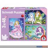 "Kinder-Puzzle 3er-Set ""Meerjungfrau-Prinzessin-Fee"" 3x 48 T."
