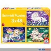"""Kinder-Puzzle 3er-Set """"Fantasievolle Fabeltiere"""" 3x 48 Teile"""
