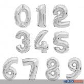 """Folienballon silber """"Zahlen 0-9"""" f. Luft & Gas 10-sort."""