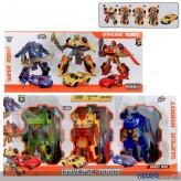 """3er Transformer-Roboter-Set """"Universe robot"""" 15 cm sort."""
