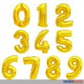 "Folienballon gold ""Zahlen 0-9"" f. Luft & Gas 10-sort."