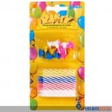 24 bunte Geburtstagskerzen - inkl. 12 Stecker