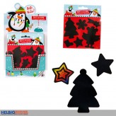 "Kratz-Sticker ""Winter/Xmas"" m. Regenbogenfolie - 2-sort."