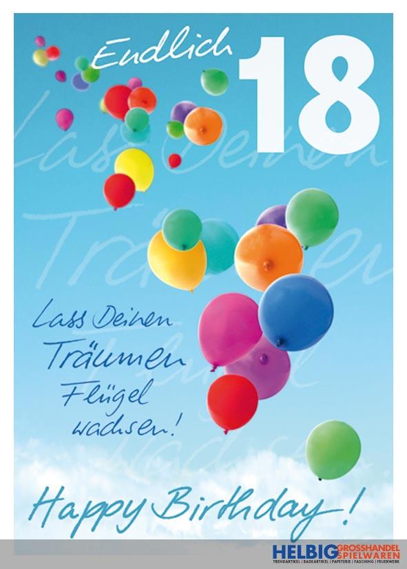 """glückwunschkarte 18. geburtstag """"endlich 18""""-01016a"""